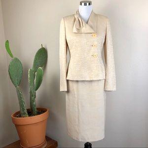 •KASPER• Yellow Gold 2-Piece Suit - Blazer Skirt